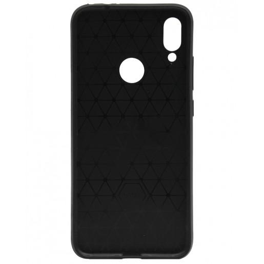 Силиконовый бампер с кожаной вставкой ILEVEL для Xiaomi Redmi Note 7 (черный с карманом)